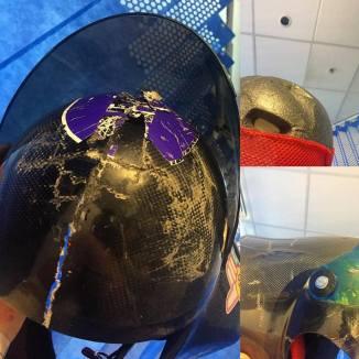 vulture helmet took most of the impact